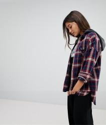 Noisy May Check Shirt With Hood - Multi