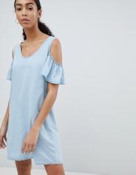 Noisy May Cold Shoulder Denim Shift Dress - Blue