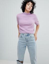 Noisy May Cropped Fluffy Knit - Purple