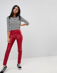 Noisy May Front Seam PU Legging - Red