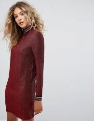 Noisy May High Neck Glitter Dress - Red