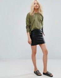 Noisy May Leather Look Skirt - Black