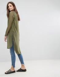 Noisy May Olivia Drop Sheer Back Top - Green