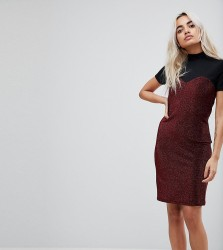 Noisy May Petite High Neck Mesh Top Glitter Bodycon Dress - Red
