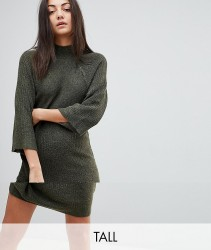 Noisy May Tall High Neck Knitted Dress - Green