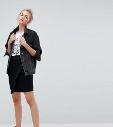 Noisy May Tall Mini Denim Skirt With Asymmetric Ruffle Detail - Black