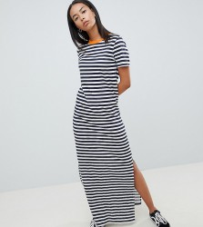 Noisy May Tall Stripe Maxi Dress With Contrast Neck - Multi
