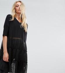 Noisy May Tall Tiered Lace Dress - Black