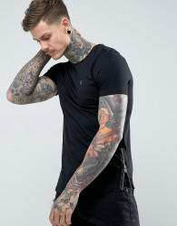 Noose & Monkey Longline Muscle Fit Crew Neck T-Shirt with Zip Detail - Black