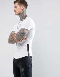 Noose & Monkey Longline Muscle Fit Crew Neck T-Shirt with Zip Detail - White