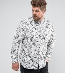 Noose & Monkey PLUS Skinny Smart Shirt In Print - White