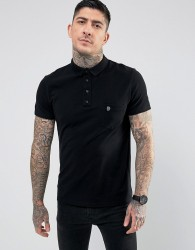 Noose & Monkey Polo Shirt with Pocket Logo - Black