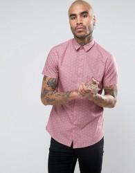 Noose & Monkey Skinny Short Sleeve Shirt In Print - Pink