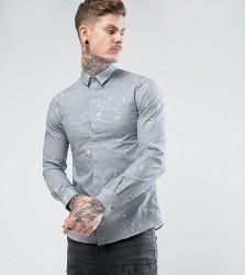Noose & Monkey Skinny Smart Shirt In Print - Grey