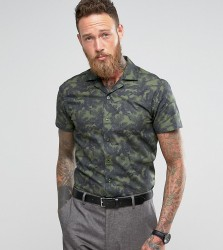 Noose & Monkey Slim Short Sleeve Revere Collar Shirt In Print - Green