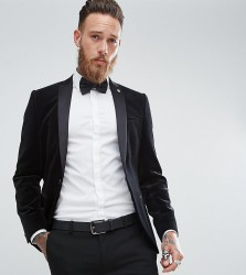 Noose & Monkey Super Skinny Blazer In Velvet - Black