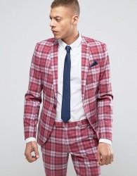 Noose & Monkey Super Skinny Suit Jacket In Check - Pink
