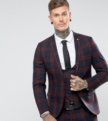 Noose & Monkey Super Skinny Suit Jacket In Check - Red
