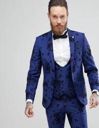 Noose & Monkey Super Skinny Suit Jacket In Flocking - Blue
