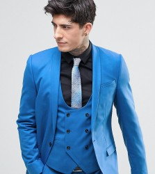 Noose & Monkey Super Skinny Suit Jacket with Stretch - Blue