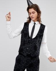 Noose & Monkey Super Skinny Waistcoat In Flocking - Grey