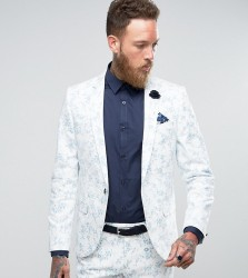 Noose & Monkey Super Skinny Wedding Suit Jacket In Flocking - White