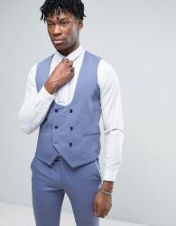 Noose & Monkey Super Skinny Wedding Waistcoat - Blue