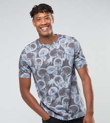 Noose & Monkey TALL Relaxed Shoulder T-Shirt in Skull Print - Grey
