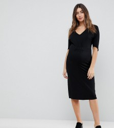 Noppies Maternity Relaxed Drape Front Jersey Dress - Black