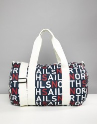 North Sails Large Duffle Bag In All Over Logo Print - Navy