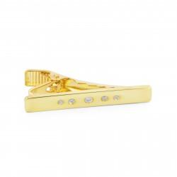 Northern Jewelry Kort Guld 925s-Slipsenål med Zirkoniaprikker