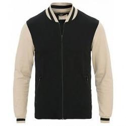 Nudie Jeans Sture Jersey College Bomber Jacket Black/Sand