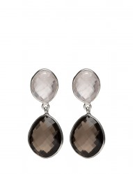 Nugget Earrings Silver Smokey