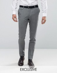 Number Eight Savile Row Skinny Smart Trouser in Check - Green