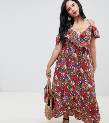 NVME Floral Wrap Front Maxi Dress - Red