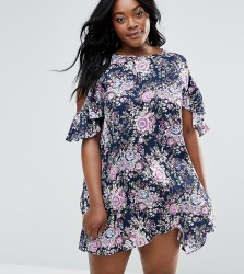 NVME Plus Cold Shoulder Dress With Ruffle Detail - Multi