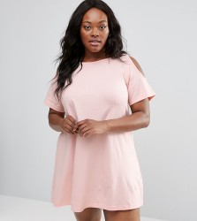NVME Plus Swing Dress With Cold Shoulder - Pink