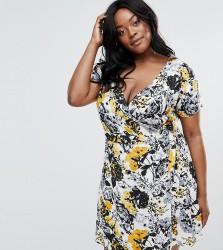 NVME Plus Tea Dress With Wrap Front - Multi