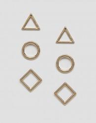 Nylon 3 pack stud earrings - Gold