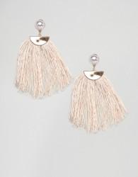 Nylon Cream Tassel Earrings - Cream
