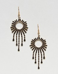 Nylon Diamante Drape Earrings - Gold