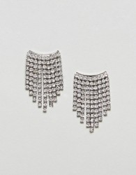 Nylon Diamante Drape Earrings - Silver