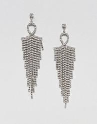 Nylon Diamante Tassel Drape Earrings - Gold