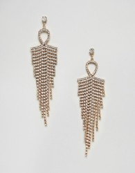 Nylon Diamante Tassel Drape Earrings - Silver