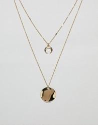 Nylon double layered neclace with wishbone pendant - Gold