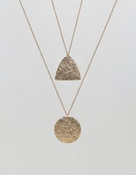 Nylon Etched Double Layer Necklace - Gold