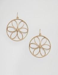 Nylon Flower Hoop Earrings - Gold
