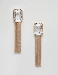 Nylon Gem Tassel Earrings - Gold