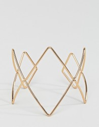 Nylon geometric statement bracelet - Gold