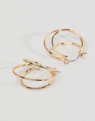 Nylon Gold Double Hoop Earrings - Gold